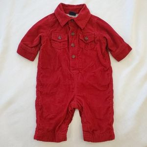 BABY GAP red corduroy fully lined romper